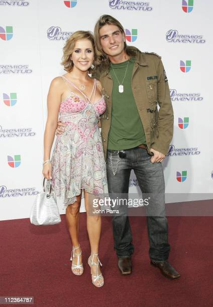Ana Maria Conseco and Matias during 2005 Premios de la Juventud - Arrivals at University of Miami in Coral Gables, Florida, United States.