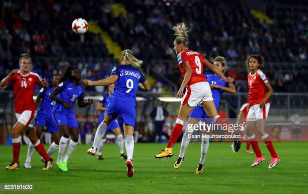 Ana Maria Crnogorcevic of Switzerland heads the opening goal during the Group C match between Switzerland and France during the UEFA Women's Euro...