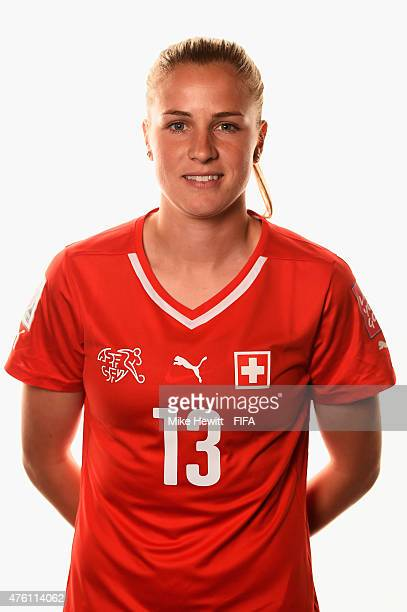 Ana Maria Crnogorcevic of Switzerland poses for a portrait during the official Switzerland portrait session ahead of the FIFA Women's World Cup 2015...