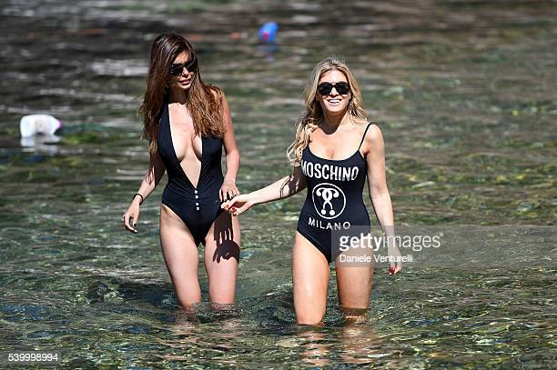 Ana Maria Folostina and Hofit Golan pose for portrait session during the 62 Taormina Film Fest on June 13 2016 in Taormina Italy
