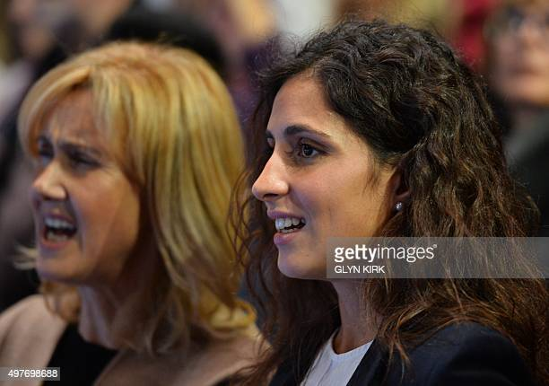 Ana Maria Parera and Maria Francisca Perello the mother and girlfriend of Spain's Rafael Nadal watch him play Britain's Andy Murray in a men's...
