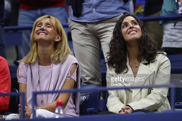 Ana Maria Parera and Xisca Perello celebrate Rafael Nadal of Spain defeating Andrey Rublev of Russia after their Men's Singles Quarterfinal match on...