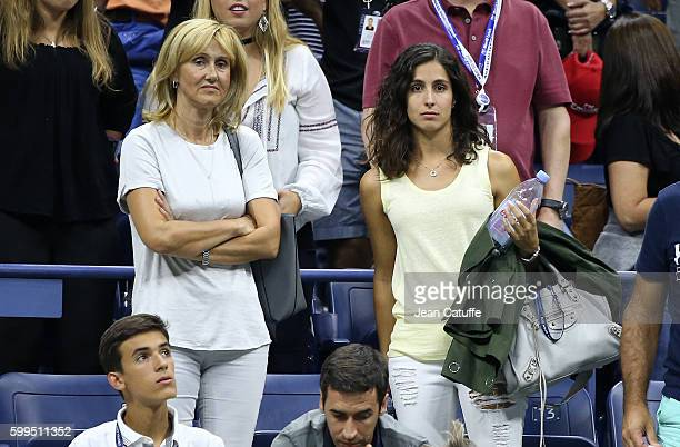 Ana Maria Parera mother of Rafael Nadal and Xisca Perello look on when Rafael Nadal of Spain is leaving the court after losing on day 7 of the 2016...
