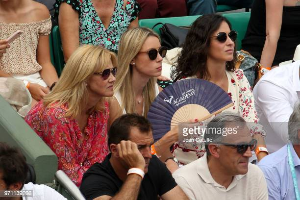 Ana Maria Parera mother of Rafael Nadal of Spain his sister Maria Isabel Nadal and his girlfriend Xisca Perello during the men's final on Day 15 of...
