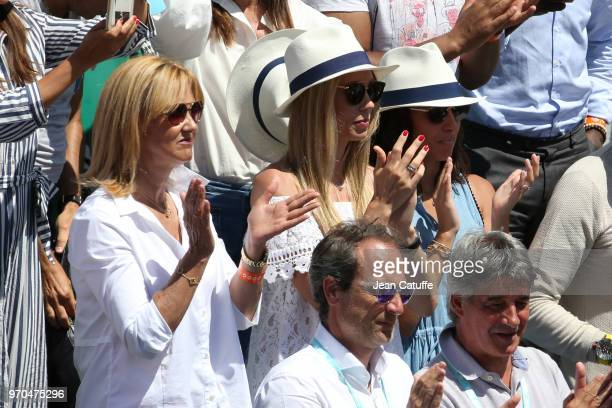 Ana Maria Parera mother of Rafael Nadal of Spain Maria Isabel Nadal his sister Xisca Perello his girlfriend during Day 12 of the 2018 French Open at...