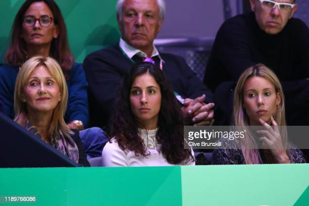 Ana Maria Parera mother of Rafael Nadal Xisca Perello wife of Rafael Nadal and Maria Isabel Nadal sister of Rafael Nadal of Spain watch the singles...
