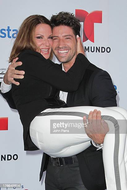Ana Maria Polo and David Chocarro arrive at Telemundo's Premios Tu Mundo Awards at American Airlines Arena on August 15 2013 in Miami Florida