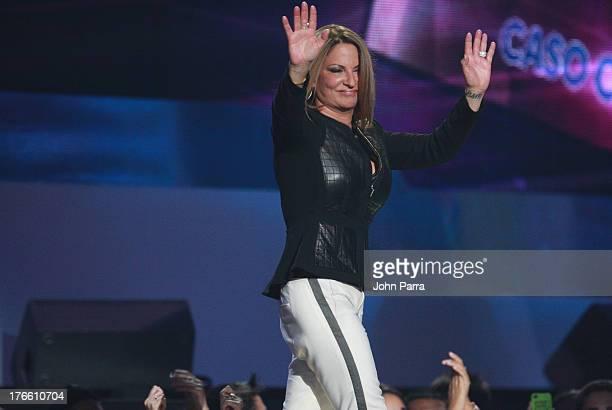 Ana Maria Polo on stage during Telemundo's Premios Tu Mundo Awards at American Airlines Arena on August 15 2013 in Miami Florida
