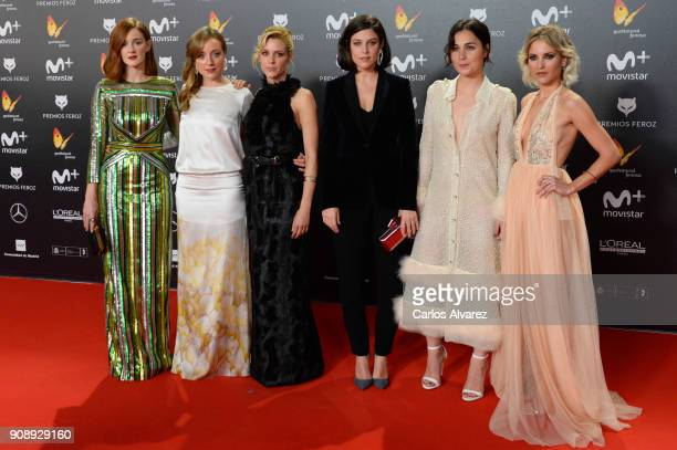 Ana Maria Polvorosa Angela Cremonte Maggie Civantos Ana de Santiago and Ana Fernandez attend Feroz Awards 2018 at Magarinos Complex on January 22...