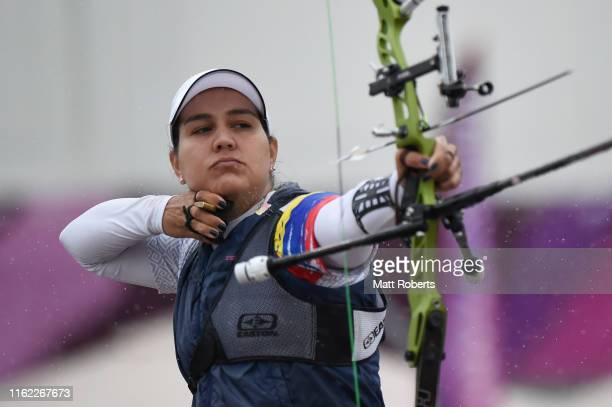 Ana Maria Rendon of Colombia competes during the Ready Steady Tokyo - Archery, Tokyo 2020 Olympic Games test event at the Yumenoshima Park Archery...