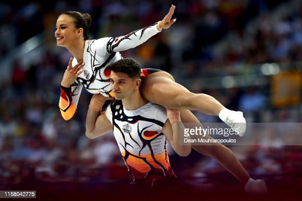 Ana Maria Stoilova and Antonio Papazov of Bulgaria compete during the Aerobic Gymnastics Mixed Pairs Final during Day 4 of the 2nd European Games at...
