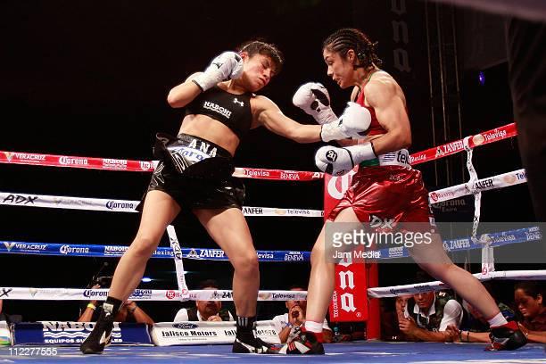 Ana Maria Torres and Jackie Nava during the boxing match Reinas en Guerra at WTC Veracruz on April 16 2011 in Veracruz Mexico
