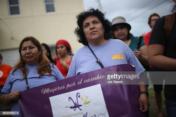 Ana Maria Torrez and Yaquelin Lopez join a May Day rally on May 1 2018 in Hollywood Florida Across the country and world people participated in...