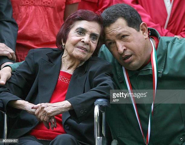 Ana Maria Zapata daughter of Mexican revolutionary leader Emiliano Zapata poses with Venezuelan President Hugo Chavez at the Fine Arts Museum in...