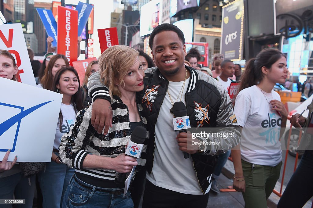Ana Marie Cox (L) and actor Tristan Wilds participate in MTV Total Registration Live in Times Square on September 27, 2016 in New York City.