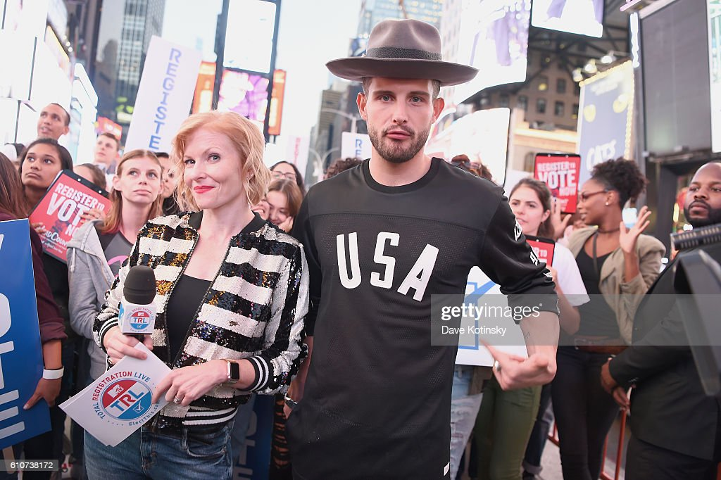 Ana Marie Cox (L) and Nico Tortorella participate in MTV Total Registration Live in Times Square on September 27, 2016 in New York City.