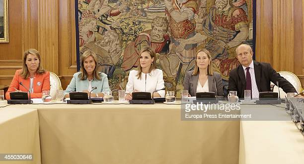 Ana Mato Queen Letizia of Spain Ana Pastor and Jose Ignacio Wert attend audience at Zarzuela Palace on September 9 2014 in Madrid Spain