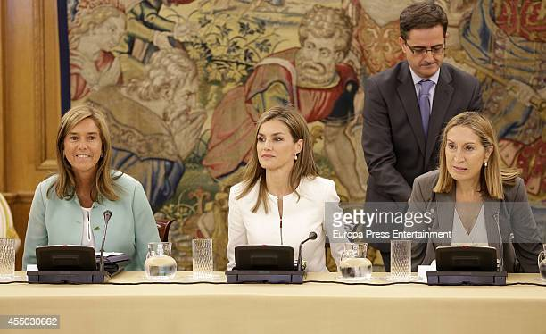 Ana Mato Queen Letizia of Spain and Ana Pastor attend audience at Zarzuela Palace on September 9 2014 in Madrid Spain