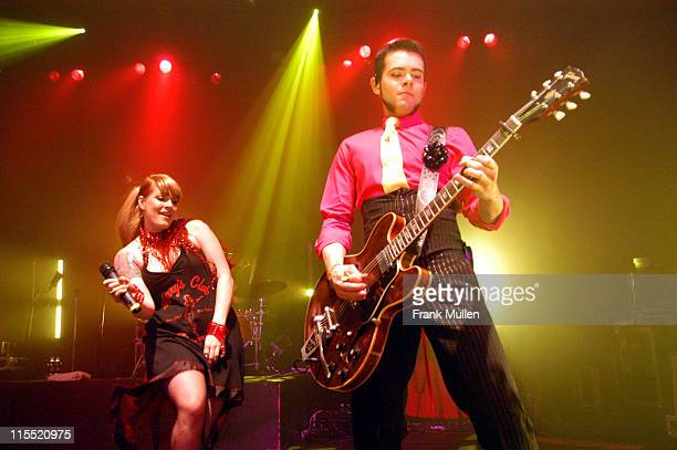 Ana Matronic and Del Marquis of Scissor Sisters during Scissor Sisters Tour Opener November 29 2004 at The Roxy in Atlanta Georgia United States