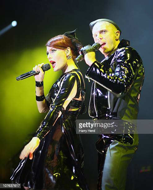 Ana Matronic and Jake Shears of Scissor Sisters perform at Bournemouth International Centre on December 16 2010 in Bournemouth England