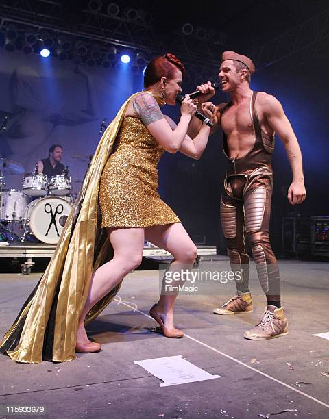 Ana Matronic and Jake Shears of Scissor Sisters perform on stage during Bonnaroo 2011 at This Tent on June 11 2011 in Manchester Tennessee
