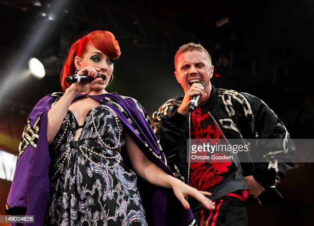 Ana Matronic and Jake Shears of Scissor Sisters perform on the America stage on Day 1 of BT River Of Music Festival at Tower of London on July 21...