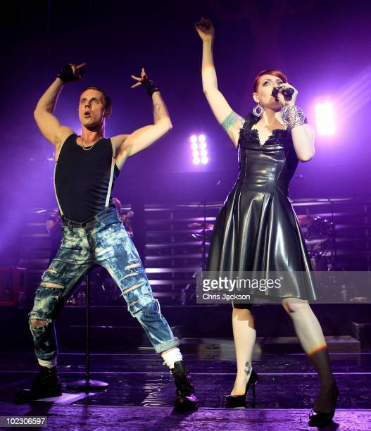 Ana Matronic and Jake Shears of the Scissor Sisters performs at Brixton Academy on June 22 2010 in London England