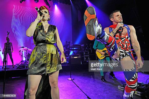 Ana Matronic and Jake Shears of The Scissor Sisters perrform at Shepherds Bush Empire on May 17 2012 in London England