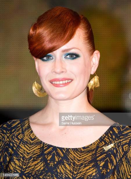 Ana Matronic of Scissor Sisters makes a personal appearance to sign copies of their new album 'Magic Hour' at HMV Oxford Street on May 28 2012 in...