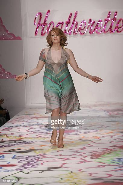 Ana Matronic of Scissor Sisters walks the runway during the Heatherette fashion show during FUNKSHION fashion week on March 24 2006 in Miami Beach...