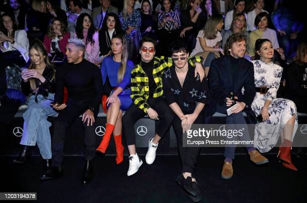 Ana Mena and Gemeliers attend Fernando Claro fashion show during the Merecedes Benz Fashion Week Autum/Winter 2020-21 at Ifema on January 30, 2020 in...