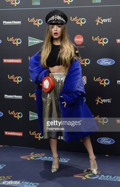 Ana Mena attends 'Los 40 Music Awards' photocall at the WiZink Center on November 10 2017 in Madrid Spain