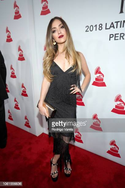 Ana Mena attends the Person of the Year Gala honoring Mana during the 19th annual Latin GRAMMY Awards at the Mandalay Bay Events Center on November...