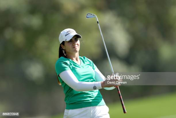 Ana Menendez of Mexico plays her second shot on the par 5 18th hole during the first round of the 2017 Dubai Ladies Classic on the Majlis Course at...
