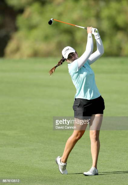 Ana Menendez of Mexico plays her second shot on the par 5 third hole during the second round of the 2017 Dubai Ladies Classic on the Majlis Course at...