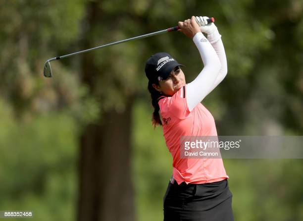 Ana Menendez of Mexico plays her tee shot on the par 3 15th hole during the third round of the 2017 Dubai Ladies Classic on the Majlis Course at The...