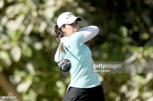 Ana Menendez of Mexico plays her tee shot on the par 5 third hole during the second round of the 2017 Dubai Ladies Classic on the Majlis Course at...