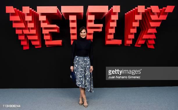 Ana Milan attends the red carpet during the Netflix presentation party at the Invernadero del Palacio de Cristal de la Arganzuela on April 4 2019 in...
