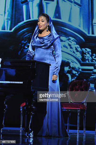 Ana Milva Gomes performs during the 'Mozart The Musical' Rehearsal at Raimund Theater on September 11 2015 in Vienna Austria