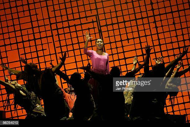 Ana Milva Gomes performs on stage during a photocall for the musical 'Aida' on November 22 2005 in Munich Germany The premiere of the musical which...