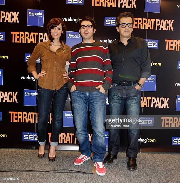 Ana Morgade Berto Romero and Andreu Buenafuente attend Terrat Pack press conference at Barcelo hotel on November 30 2011 in Madrid Spain