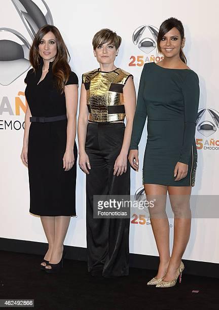 Ana Morgade Sara Escudero and Cristina Pedroche attend 'Antena 3' 25th Anniversary Reception at the Palacio de Cibeles on January 29 2015 in Madrid...