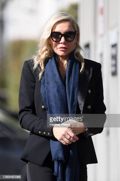 Ana Mowbray attends the funeral service for Andy Haden at Eden Park on August 03 2020 in Auckland New Zealand Haden died last Wednesday after a long...