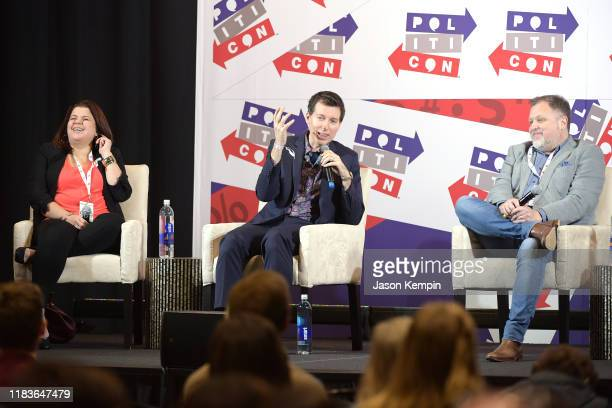 Ana Navarro Allan Piper and Tim Wise speak onstage during the 2019 Politicon at Music City Center on October 26 2019 in Nashville Tennessee