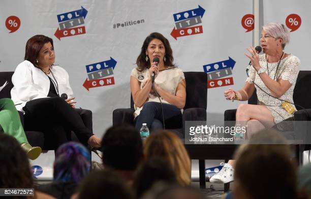 Ana Navarro, Emiliana Guereca, and Katie Hopkins at the 'Women Taking Charge' panel during Politicon at Pasadena Convention Center on July 30, 2017...