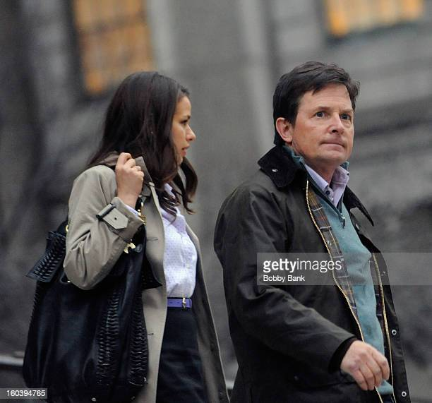 Ana Nogueira and Michael J Fox on location for 'Michael J Fox Project' on January 30 2013 in New York City