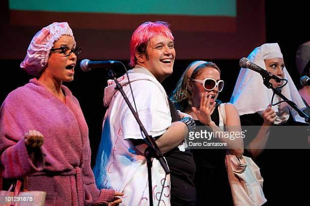 Ana Nogueira Randy Blair and Dana Steingold perform during the 'Perez Hilton Saves The Universe' performance at Joe's Pub on May 30 2010 in New York...