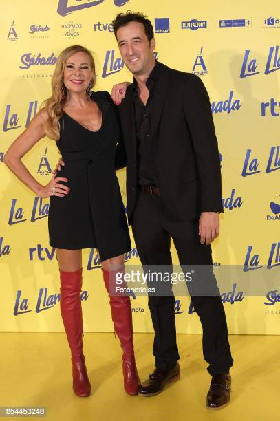 Ana Obregon and Cesar Lucendo attend the 'La Llamada' premiere yellow carpet at the Capitol cinema on September 26 2017 in Madrid Spain