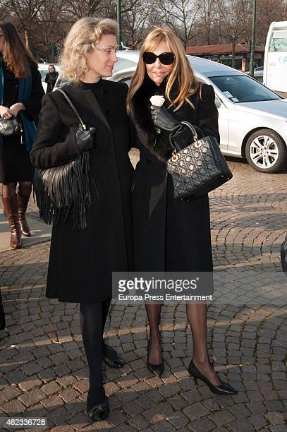 Ana Obregon and Desideria di Assaba Torlonia attend the funeral service for Princess Sandra Torlonia grand daughter of King Alfonso XIII of Spain on...