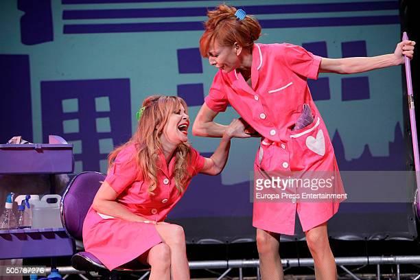 Ana Obregon and Elisa Matilla attend the presentation of 'Sofocos Plus' at La Latina theatre on January 19 2016 in Madrid Spain